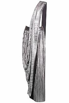 Silver Metallic Pre-Draped Sari