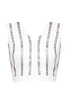 White and Silver Heavy Embroidered Top