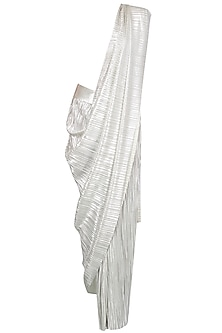 Champagne Metallic Pre Draped Saree