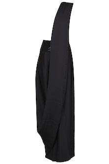 Black Pre Draped High Leg Saree by 431-88 By Shweta Kapur