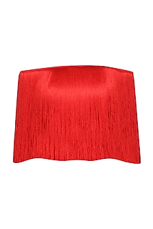 Red Off Shoulder Fringe Top