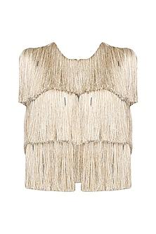 Gold Sleeveless Fringe Jacket