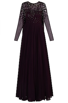Burgundy Embellished Anarkali Gown