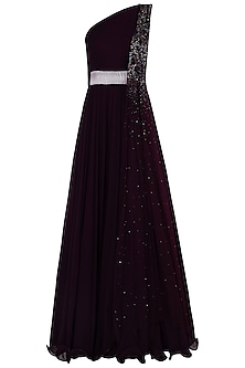 Burgundy One Shoulder Embellished Anarkali Gown