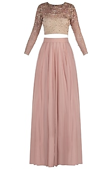 Rose Gold Embellished Blouse with Pink Lehenga Skirt