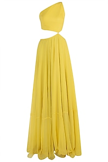 Yellow Cut Out Anarkali with Lime Embellished Dupatta
