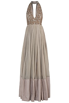 Sage Green Embellished Anarkali Gown