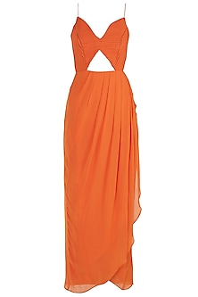 Orange Overlap Anarkali Gown with Braided Dupatta