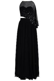 Black Embellished Crop Top with Lehenga Skirt by Shloka Khialani