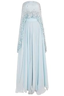 Powder Blue Embellished Tube Cape with Lehenga Skirt by Shloka Khialani
