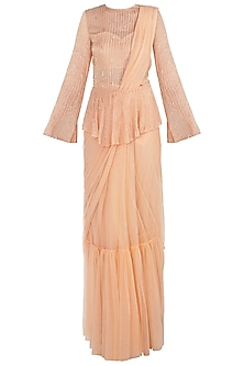 Peach Net Ruffled Saree Set