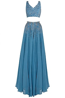 Blue Embellished Lehenga Set