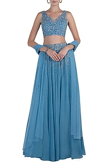 Blue Embellished Lehenga Set by Shloka Khialani