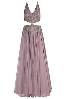 Lilac Cut Out Embellished Gown