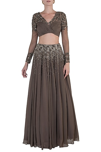Military Green Embellished Lehenga with Drape Blouse by Shloka Khialani