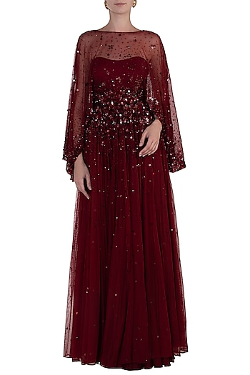 Maroon Embroidered Cape with Gown by SHLOKA KHIALANI