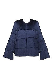 Navy Blue Layered Fringe Jacket