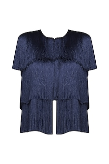 Navy Blue Layered Fringe Sleeveless Jacket