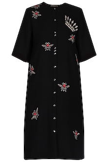 Black embroidered shift dress by Shahin Mannan