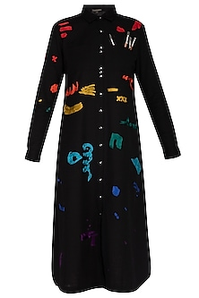 Black embroidered midi shirt dress