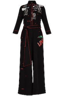 Black embroidered jumpsuit
