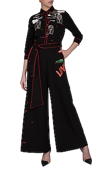 Black embroidered jumpsuit by Shahin Mannan
