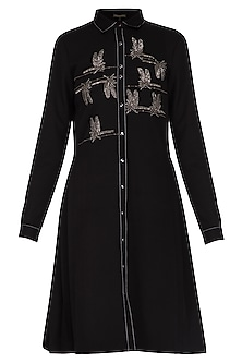 Black embroidered shirt dress by Shahin Mannan