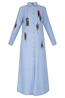 Light blue embroidered maxi shirt dress