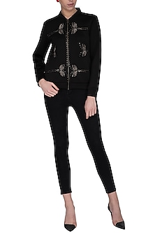 Black embroidered bomber jacket by Shahin Mannan