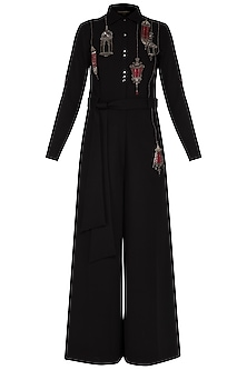 Black hanging lamp embroidered jumpsuit
