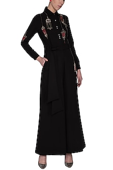 Black hanging lamp embroidered jumpsuit by Shahin Mannan