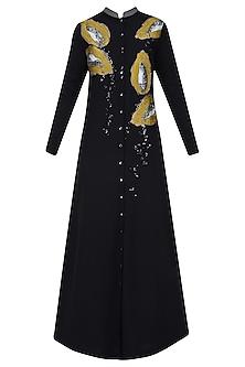 Black Embroidered Papaya Motifs Long Shirt Dress by Shahin Mannan