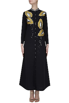 Black Embroidered Papaya Motifs Long Shirt Dress by Shahin Mannan