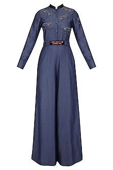 Blue Embroidered Specky Eyes Motifs Jumpsuit