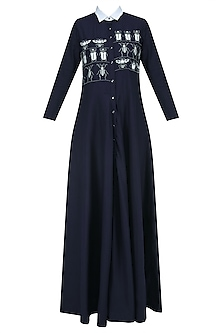 Navy Blue Embroidered Insect Motifs Long Flared Dress