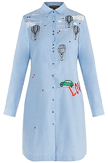 Light blue embroidered shirt dress