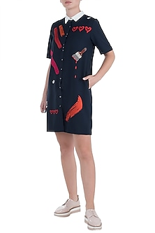 Navy blue embroidered shift dress by SHAHIN MANNAN