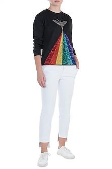Black embroidered rainbow sweatshirt by SHAHIN MANNAN