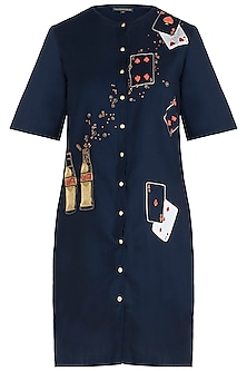 Navy blue embroidered coca-cola shift dress