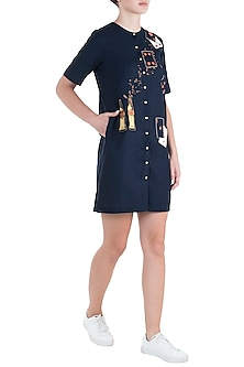 Navy blue embroidered coca-cola shift dress by SHAHIN MANNAN