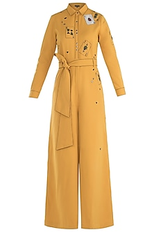 Yellow embroidered jumpsuit