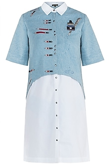 Light blue embroidered pen pencil shirt with shift dress