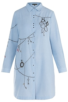 Light blue embroidered pocket shirt dress