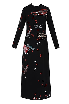 Black Butterfly, Kitkat, Quote and Hearts Embroidered Long Dress
