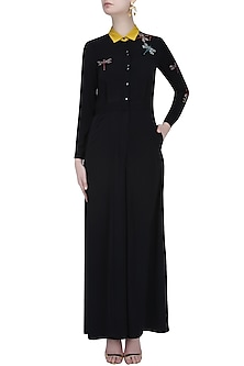 Black Beaded Dragonfly Motifs Collared Jumpsuit by Shahin Mannan