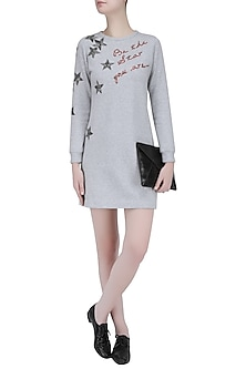 Light Grey Star Motif and Quote Embroidered Sweater Dress by Shahin Mannan