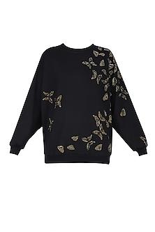 Black Broken Butterflies Motifs Sweatshirt by Shahin Mannan