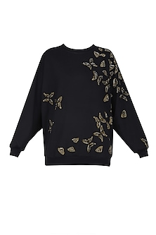 Black Broken Butterflies Motifs Sweatshirt by Shahin Mannan
