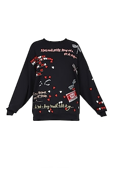 Black Butterfly, Kitkat, Quote and Hearts Embroidered Sweatshirt by Shahin Mannan