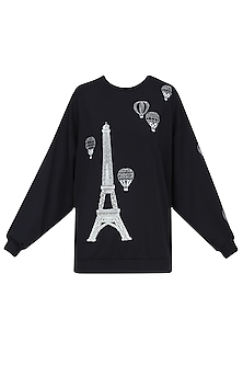 Black Eiffel Tower and Air Balloon Motif Sweatshirt
